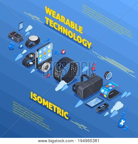 Wearable technology isometric composition with devices for health, watches, fitness trackers on blue textured background vector illustration
