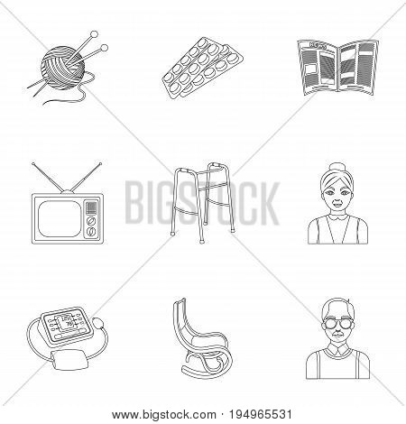Armchair, slippers, tonometer and other attributes of old age.Old age set collection icons in outline style vector symbol stock illustration .
