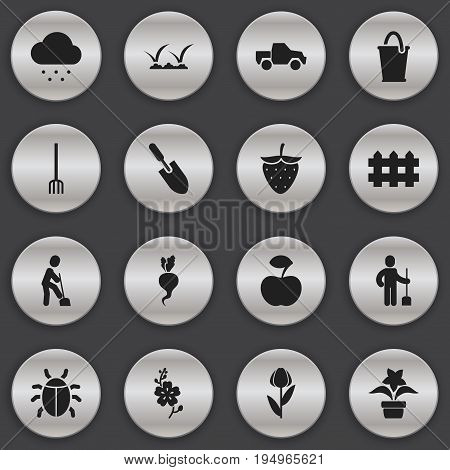 Set Of 16 Editable Agriculture Icons. Includes Symbols Such As Plant Pot, Hay Fork, Lawn And More. Can Be Used For Web, Mobile, UI And Infographic Design.