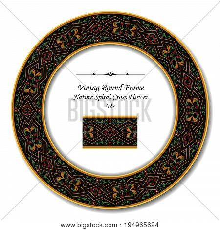 Vintage Round Retro Frame Of Retro Nature Spiral Cross Flower