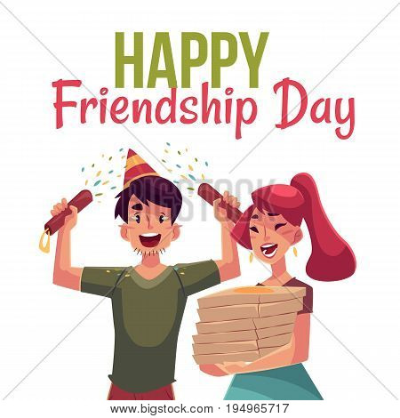 Happy friendship day greeting card design with friends having fun at a party, cartoon vector illustration isolated on white background. Boy and girl dancing, popping party poppers, pizza