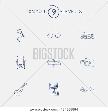 Set Of 9 Editable Travel Icons. Includes Symbols Such As Musical Instrument, Camper, Seat And More. Can Be Used For Web, Mobile, UI And Infographic Design.