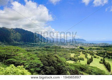 Landscape View from Nuuanu Pali Lookout on Oahu, Hawaii