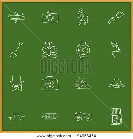 Set Of 16 Editable Camping Icons. Includes Symbols Such As Wrist Clock, Beauty Insect, Caravan And More. Can Be Used For Web, Mobile, UI And Infographic Design.