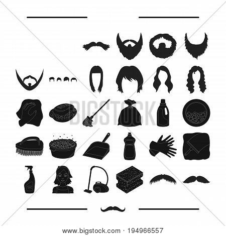 cleanliness, salon, hairdresser and other  icon in black style. cleaner, sponge, hygiene, icons in set collection