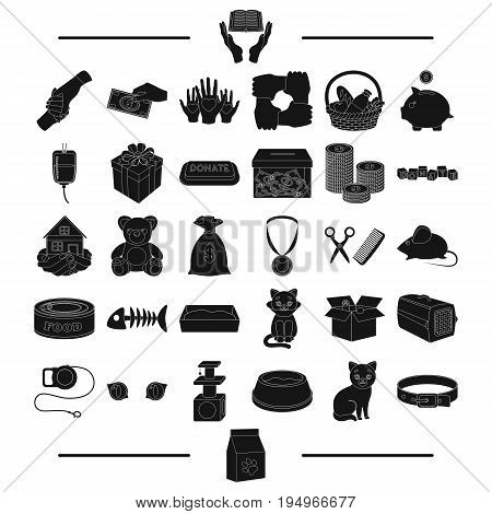 Business, holiday, casino and other  icon in black style.communication, hairdresser, animals icons in set collection.