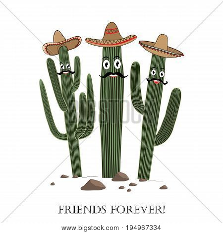 Three cute cartoon Saguaro cactus in sombrero. Friends forever text. Card could be used for cards or prints.
