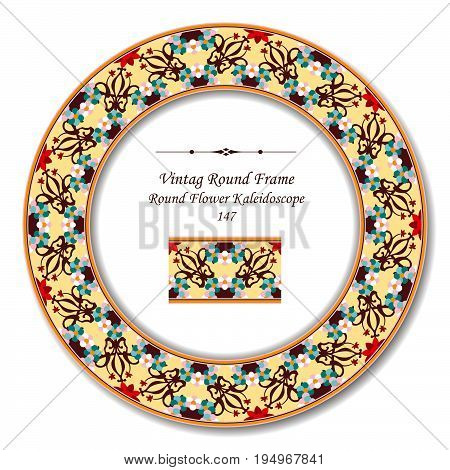 Vintage Round Retro Frame Of Colorful Round Curve Cross Flower Kaleidoscope