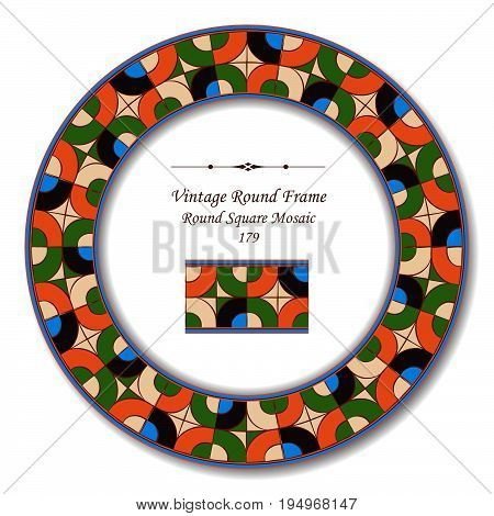 Vintage Round Retro Frame Of Round Corner Square Cross Mosaic