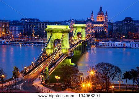 The Chainbridge (Lanchid) at Night Budapest Hungary