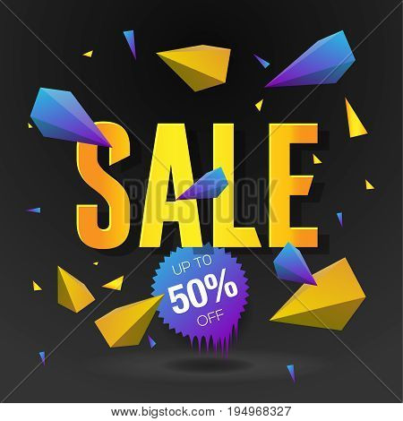 Sale 50 off poster with abstract triangle elements, black background, vector illustration.