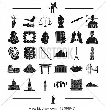 law, Bank, police and other  icon in black style. travel, history, rest, icons in set collection
