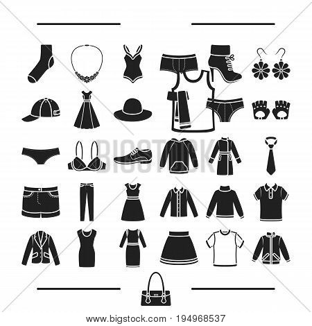 fashion, lingerie, decorations and other  icon in black style.footwear, knitwear, textiles, icons in set collection