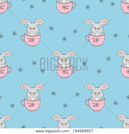 Cute rabbits in cups seamless pattern. Vector Baby print with bunnies.