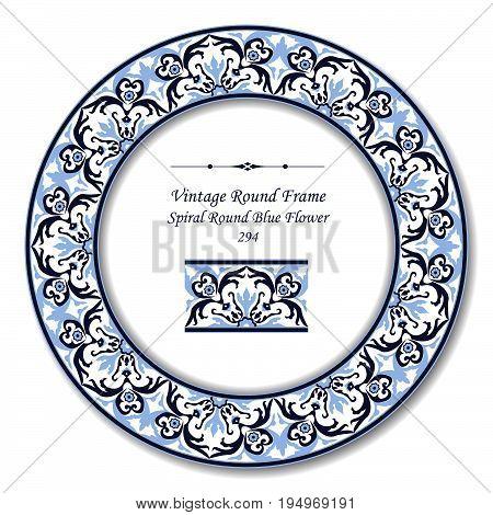 Vintage Round Retro Frame Of Spiral Round Blue Flower
