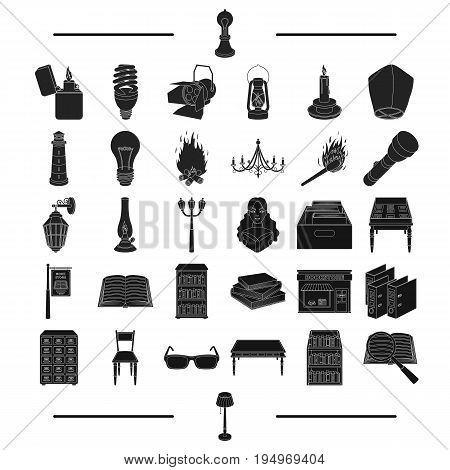 training, electricity, lighting and other  icon in black style.archive, institute, school, icons in set collection