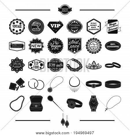 jewelry, gold, products and other  icon in black style.cross, silver, Pendant, icons in set collection