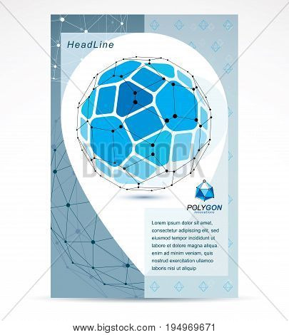 New technology theme booklet cover design front page. 3D engineering vector abstract blue polygonal shape.