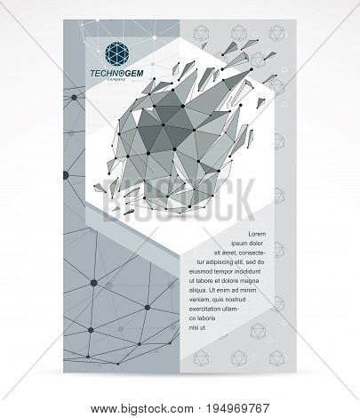 Internet technologies corporation business promotion idea. Abstract vector 3d mesh polygonal grayscale object explosion effect.