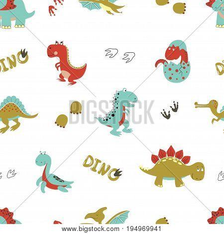 Seamless cartoon dinosaurs pattern. Vector dino background for kids design.