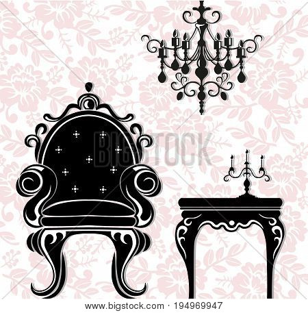 Vintage black furniture set Vector. Rich carved ornaments furniture collection. Vector Victorian Styles