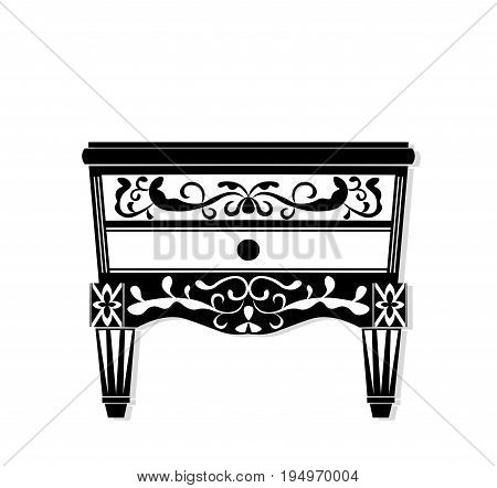 Vintage black furniture Vector. Rich carved ornaments furniture collection. Vector Victorian Styles