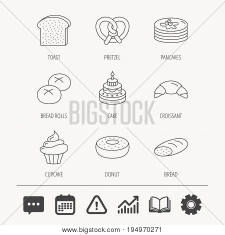 Croissant, pretzel and bread icons. Cupcake, cake and sweet donut linear signs. Pancakes, toast and bread rolls flat line icons. Education book, Graph chart and Chat signs. Vector