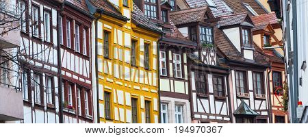 Banner background with colorful half-timbered houses in Bavaria