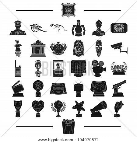 ancient, museum, antiquity and other  icon in black style.gifts, history, products, icons in set collection