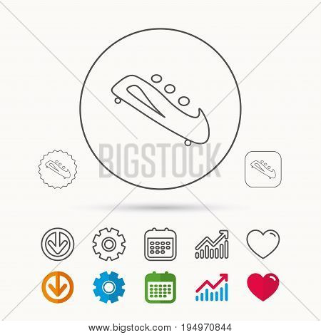Bobsleigh icon. Three-seater bobsled sign. Professional winter sport symbol. Calendar, Graph chart and Cogwheel signs. Download and Heart love linear web icons. Vector