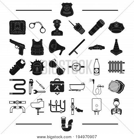 transport, police, security and other  icon in black style. plumbing, equipment, machinery icons in set collection.