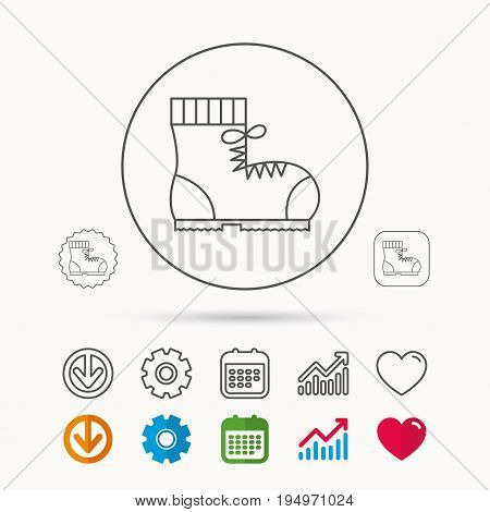 Boot icon. Hiking or work shoe sign. Military footwear symbol. Calendar, Graph chart and Cogwheel signs. Download and Heart love linear web icons. Vector