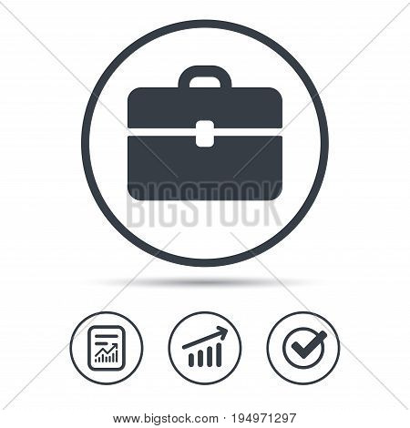 Briefcase icon. Diplomat handbag symbol. Business case sign. Report document, Graph chart and Check signs. Circle web buttons. Vector