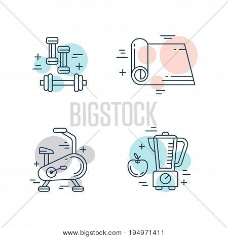 Thin line icons set of fitness, gym and health care. Recreation, sports diet and workout diet symbols. Modern flat linear pictogram concept. Simple vector material design of web graphics.