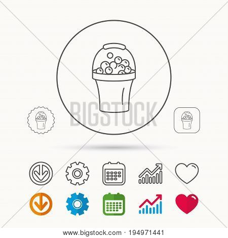 Bucket with foam icon. Soapy cleaning sign. Calendar, Graph chart and Cogwheel signs. Download and Heart love linear web icons. Vector