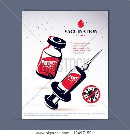 Antivirus vaccination booklet cover design front page. Vector graphic illustration of medical bottle and syringe for injections.