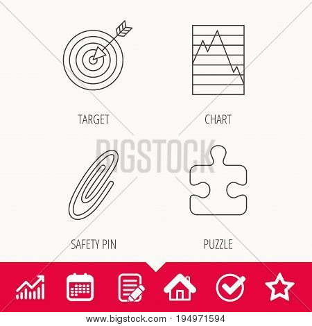 Puzzle, graph charts and target icons. Safety pin linear sign. Edit document, Calendar and Graph chart signs. Star, Check and House web icons. Vector