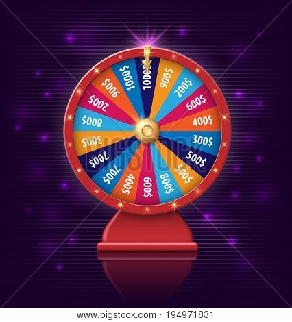wheel of fortune 3d object isolated on dark violet background EPS 10