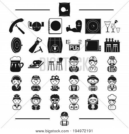 furniture, rest, professions and other  icon in black style.plumber, tools, attributes icons in set collection.
