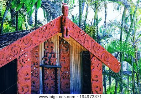 Honolulu Hawaii - May 27 2016:Carvings on a Maori Pataka (food store) in the Aotearoa Village at the Polynesian Cultural Center a popular tourist attraction on Oahu.