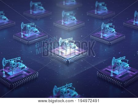 Computer Circuit Board with muliple asic chips and oil pump jacks on top of cpu. Blockchain Cryptocurrency Mining Concept. 3D Illustration.