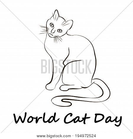 Happy Cat Day. International Cat Day. Cat sketch is on white background. Vector illustration
