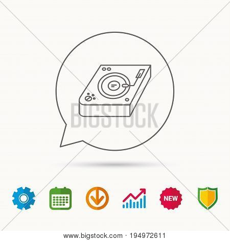 Club music icon. DJ track mixer sign. Vinyl mixing symbol. Calendar, Graph chart and Cogwheel signs. Download and Shield web icons. Vector