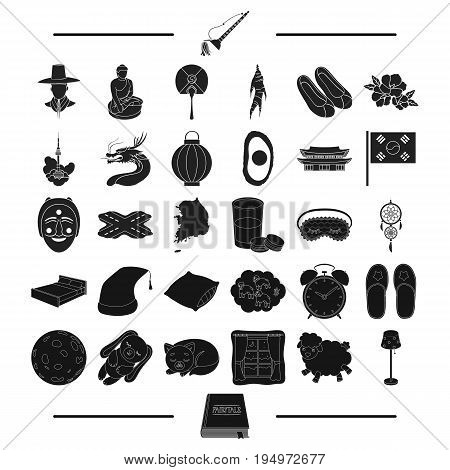 textiles, furniture, toys and other  icon in black style.rest, tourism, book icons in set collection.