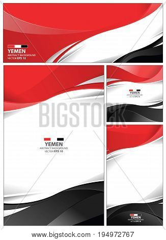Yemen flag abstract colors background. Collection banner design. brochure vector illustration.