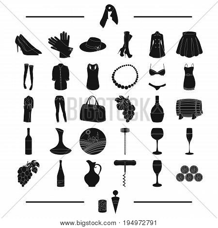 tools, fruits, textiles and other  icon in black style.accessories, clothing, knitwear icons in set collection.
