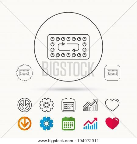 Contraception pills icon. Pharmacology drugs sign. Calendar, Graph chart and Cogwheel signs. Download and Heart love linear web icons. Vector