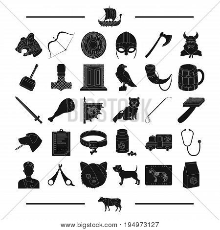 medicine, history, tourism and other  icon in black style.animals, accessories, medicine, icons in set collection