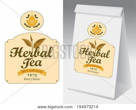 Paper packaging with label for herbal tea. Vector label for herbal tea with branch with leaves tea and paper 3d package with this label.