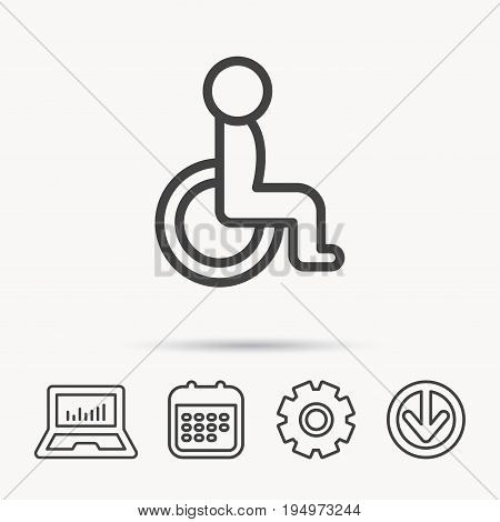 Disabled person icon. Human on wheelchair sign. Patient transportation symbol. Notebook, Calendar and Cogwheel signs. Download arrow web icon. Vector